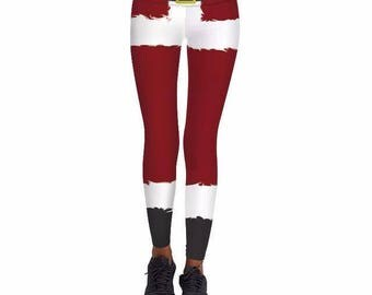 Santa Claus Mustache Christmas Leggings