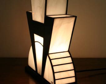 """Lamp Art Deco stained glass Tiffany """"Black and white"""""""