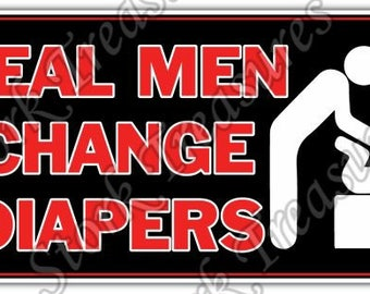 Men Change Diapers Baby Dad Father Funny Car Bumper Vinyl Sticker Decal
