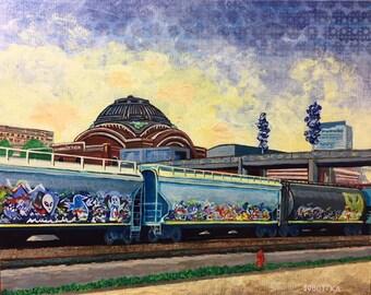 Union Station with Trains, acrylic painting by Jason Sobottka
