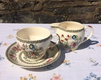 Johnson Bros Indian Tree Tea Set / Teacup & Saucer / Milk jug