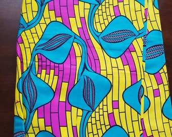 Multicolor African Fabric; Ankara Fabric; African Clothing; African Fabric in yard; African Headwrap;Ankara Fabric; Ankara; Yellow Fabric