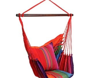 Hanging Chair RELAX XL Strip design, cotton, up to 120 kg, without pillows, #272