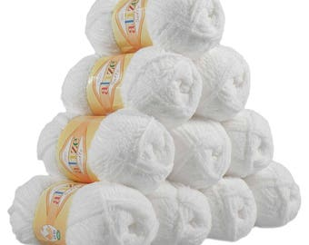 10 x 50 g soft yarn fluffy wool SOFTY by ALIZE No. 55 white