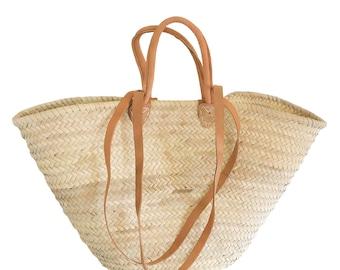 Palmtasche / Ibiza-Tasche mit Ledergriffen und Lederhenkeln!