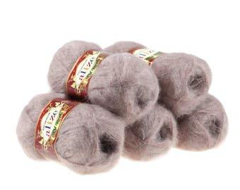 5 x 50g knitted yarn Alize Kid Royal, #541 Beige
