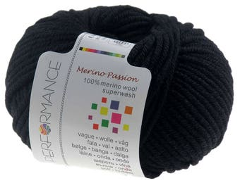 10 x 50g knitted yarn merino passion Superwash, #10 Black