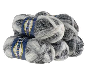5 x 100g scarf yarn/caps wool country new #5323, white-grey