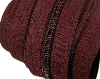 6m endless zipper 5mm with 15 zippers and tails 181 merlot