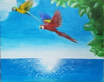 "Painting ""Parrots Ara on the sea"""