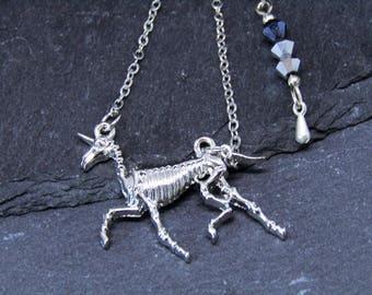 Unicorn Skeleton Two Styles, Unicorn Necklace, Skeleton Necklace, Unicorn Skeleton Necklace, Goth Unicorn Necklace, Alternative Jewellery