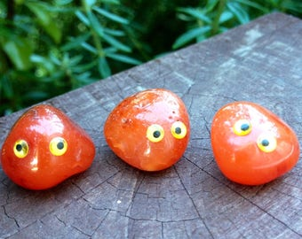 Pet Rock-tumbled carnelian stone 1.5cm long in a 6cm dome-great for children's rock collection-cheap to feed!