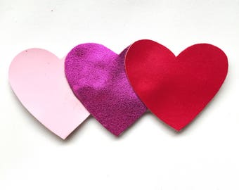 Ombré Hearts / Valentines Day Bow/ Faux Leather Bow / Hair Accessories/ Hair Clips/ Bows For Girls/ Baby Headbands