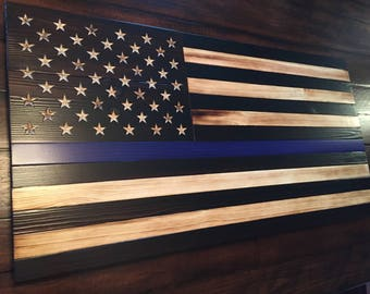 Thin Blue Line Flag, Rustic American Flag, Law Enforcement, rustic wood flag, Police Flag, Torched Flag, Wooden American Flag,