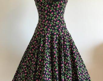 Betsey Johnson Vintage Punk Label Rosebud Cotton Lycra Rockabilly Swing Dress