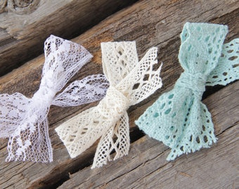 Set of three lace bow hair clips; schoolgirl bow hair clips
