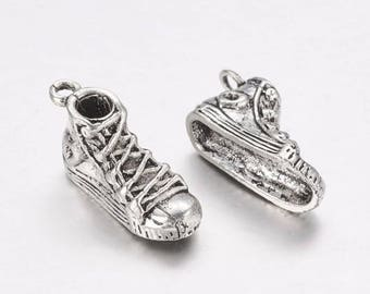5 Pcs, 21x7x9mm, Sneaker Alloy Charm in Antique Silver