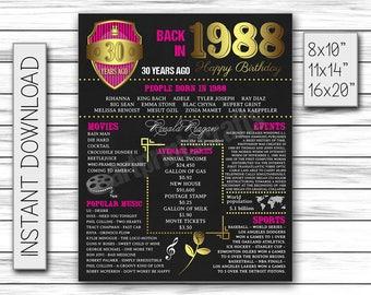 30th Birthday Poster, 1988, Chalkboard Poster, Chalkboard Sign, Pink Gold, Milestone Sign, Birthday Sign, Birthday Chalkboard, DIGITAL FILE