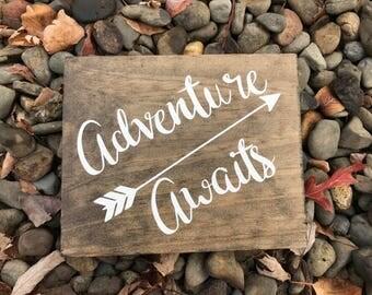 Adventure awaits wooden sign, nursery decor, home decor