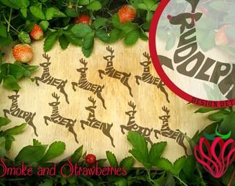 Hand lettered set reindeer shaped typography SVG design wordart dasher dancer prancer vixen comet cupid donner blitzen cutting vector