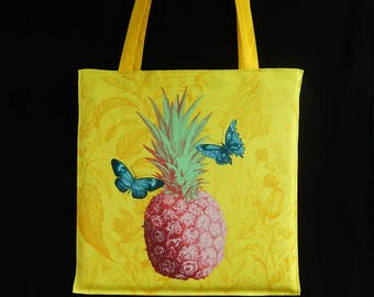 Pineapple, butterflies, colorful fabric, hand printed fabric, colorful drawing bag, yellow, pink, tote bag, beach bag