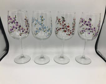 Set Of 4 Hand Painted Glasses - Cherry Blossom - Classic Wine Handpainted Glass Glassware