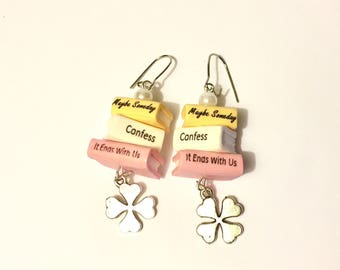 Colleen Hoover Book Earrings | Book Stack Earrings Colleen Hoover | Colleen Hoover Bookmark | Book Stack Bookmark