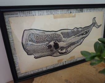 Framed with a whale illustration