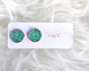 12mm Mint : Druzy Stud Earring