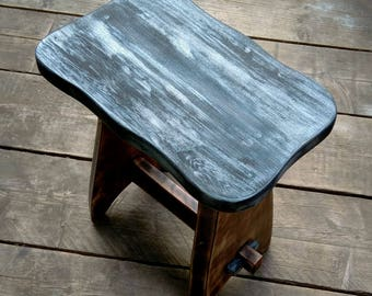 Beautiful Handmade Solid Wood Stool. Made from Reclaimed Hardwood.