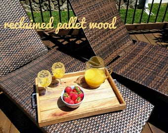 Pallet Serving Tray | Reclaimed Wood Ottoman Serving Tray | Pallet Wood Tray | Wood Tray | Rustic Serving Tray | Reclaimed Wood Tray