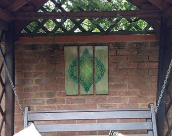 Garden art,outside picture ,patio accessory ,boho wall hanging