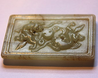 Vintage Chinese Jade Plaque depicting two Dragons around a Yin - Yang symbol