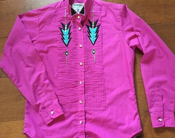 Women's Wrangler Tuxedo Western Shirt Diamond Button Ruffle Front Shirt 80's 90's Western Women's shirt hot pink