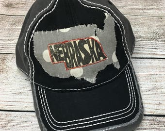 Black and gray Nebraska hat
