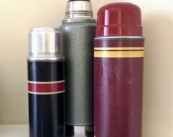 Set of Vintage Rustic Thermos Stanley Aladdin Camping Flasks