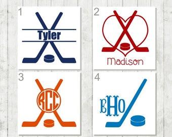 Hockey Decal, Hockey Monogram Decal, Sports Decal, Hockey Player Gift, Coach's Gift, Hockey Mom Gift, Hockey Car Decal, Hockey Team Gifts