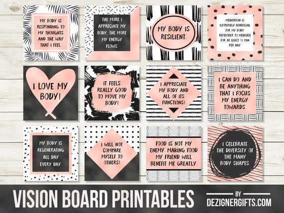vision board templates free - vision board printables positive body quotes affirmation