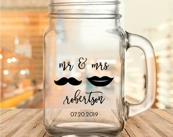 "Custom ""Mr. & Mrs."" Wedding Favor Mason Jars"