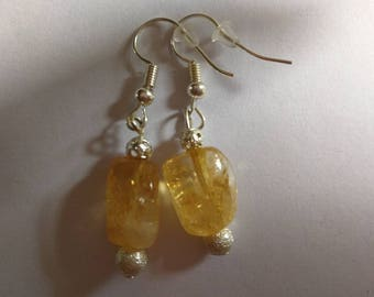 Handmade Citrine silver plated earrings