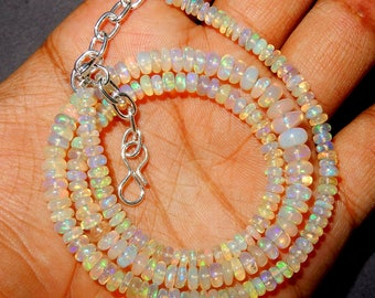 """Amazing Fire Natural Ethiopian opal Smooth Polished Roundel Beads 3 MM to 6 MM Size AAA Quality Welo Fire 16 """"inch Long Strand Necklace BD5"""