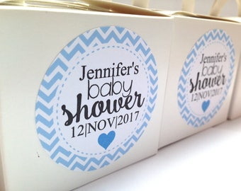 Baby shower stickers, baby shower favour stickers, Baby shower labels, personalised baby shower stickers, BLUE 154