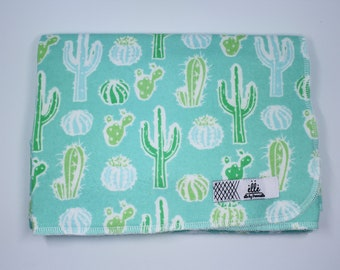 """Teal Cactus Extra Large Receiving Blanket - 36"""" x 42"""""""