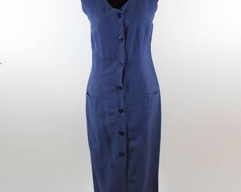 Vintage Blue Sleeveless Button Up Maxi Dress size M