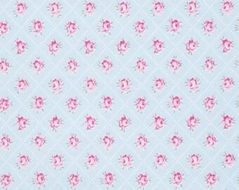 END OF BOLT - 2 Yards - Slipper Roses - Rosebud Blue by Tanya Whelan for Free Spirit Fabrics - 100% Cotton - Shabby Chic Fabric