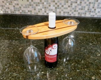 Wine glass display, made from cherry and walnut, wine gift