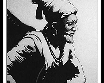 Pencil portrait of Chatrapati Shivaji Maharaj