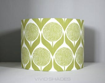 Lampshade Scandi fabric 40 / 45cm handmade by vivid shades, funky retro true Scandinavian fabric stylish geometric flower pattern lamp shade
