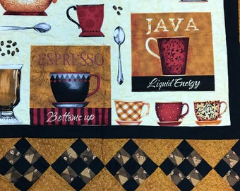 How about a Cup of Joe? Coffee Java Espresso Cappuccino Americano Quilt Wall Hanging 34x42 Liquid Energy Black Red
