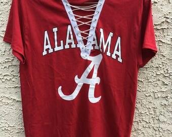 University of Alabama Lace up tee